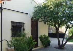 Acceso a la casa con plantas
