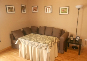 Living room with family table