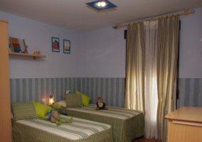 Dormitorio doble infantil en verde