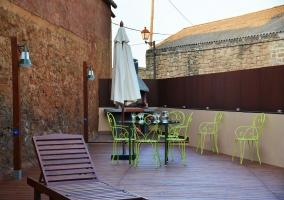 La terraza con hamacas