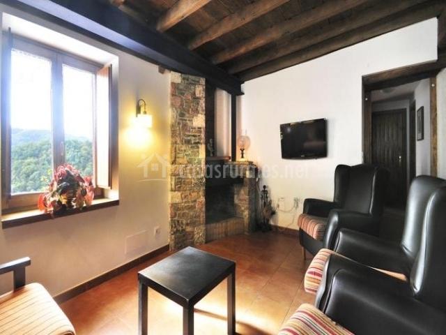 Salón principal con chimenea en la esquina y televisor colgado