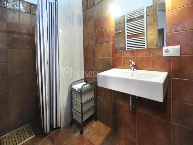 Aseo con ducha y azulejos marrones