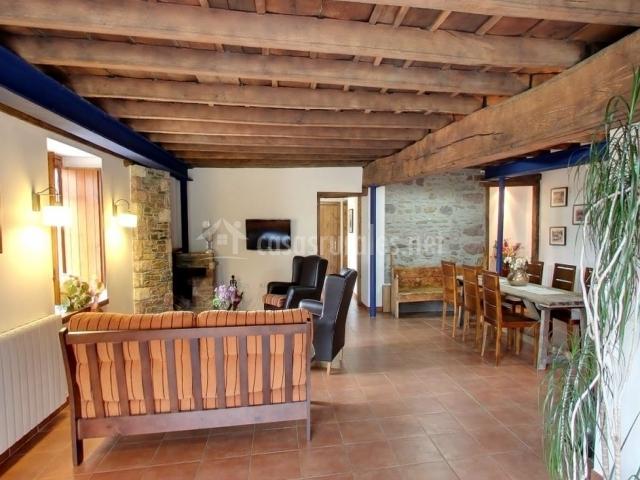Salón comedor principal con chimenea y asientos
