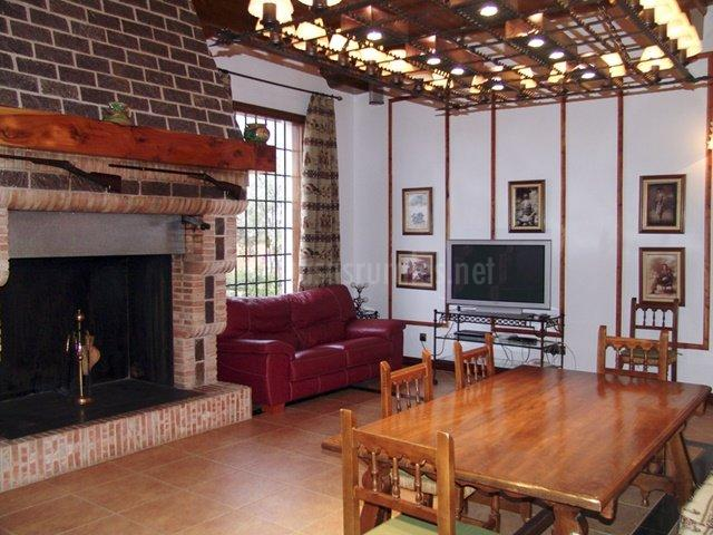Sala de estar con chimenea y modernos televisor
