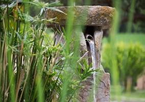 Fuente de piedra del estanque