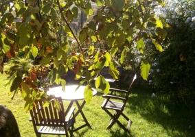 Mobiliario de madera en los jardines