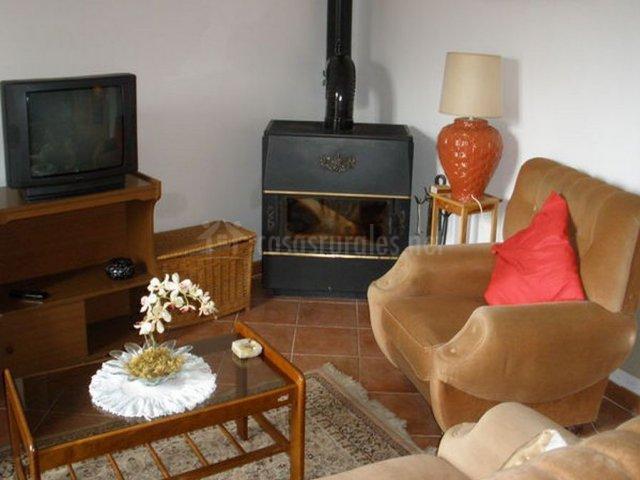 Salón comedor con chimenea y televisor