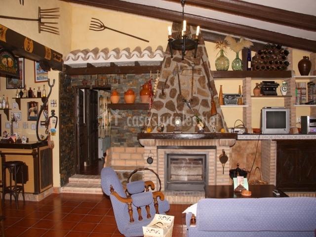 Salon principal con chimenea