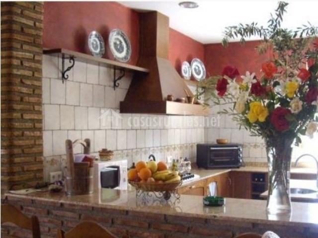 Cocina con barra de ladrillo