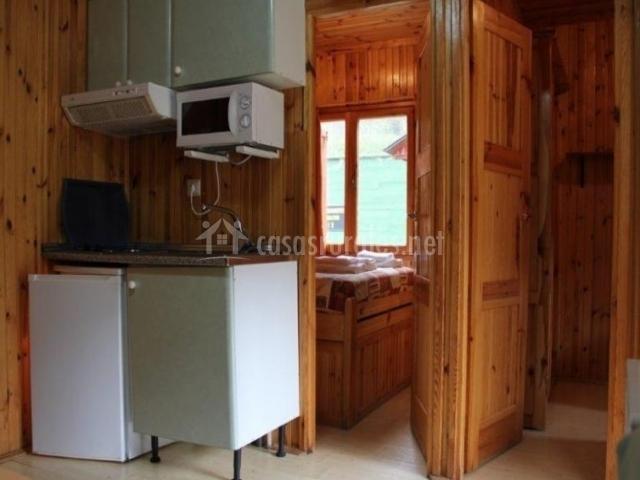 Rebestimiento de madera en el bungalow