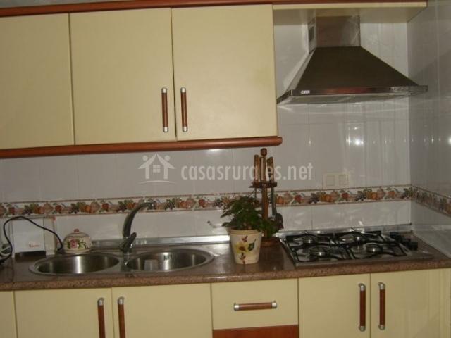 Cocina de la casa con fuegos y armarios