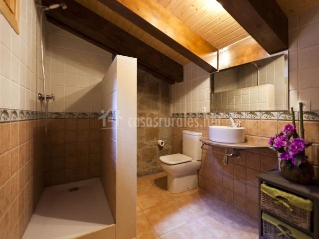 Baño con ducha y muro como mampara