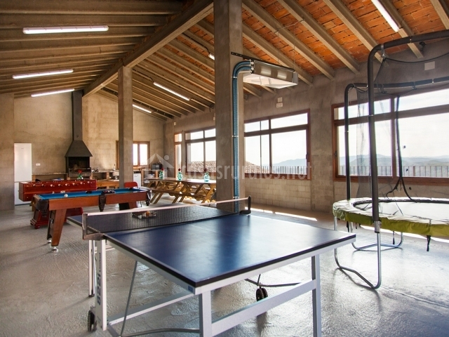 Mesa de ping-pong, cama elástica, billar y futbolín
