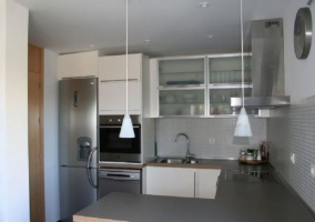 Cocina en tonos grises de la casa