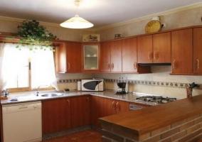 Microondas, lavavajillas y cocina de gas
