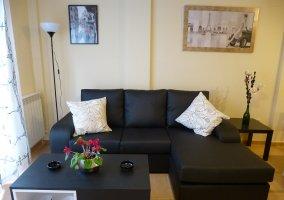 Sofá cheslong en piel y mesa de centro