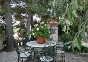 Pinos con mobiliario en el jardín