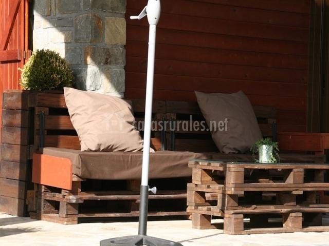 Terraza con muebles de relajación