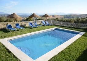Amplia piscina con jardines