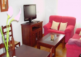Sala de estar con sofás en tonos rojos