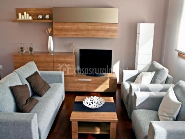 Sofás y sillones junto a la televisión