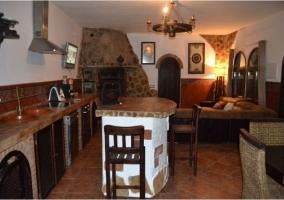 Barra de la cocina en piedra