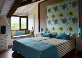 Dormitorio tonos azules