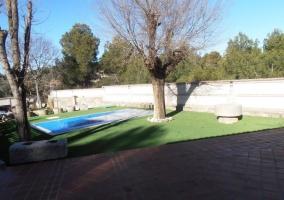 Vistas de la zona de piscina rodeada de espacios verdes