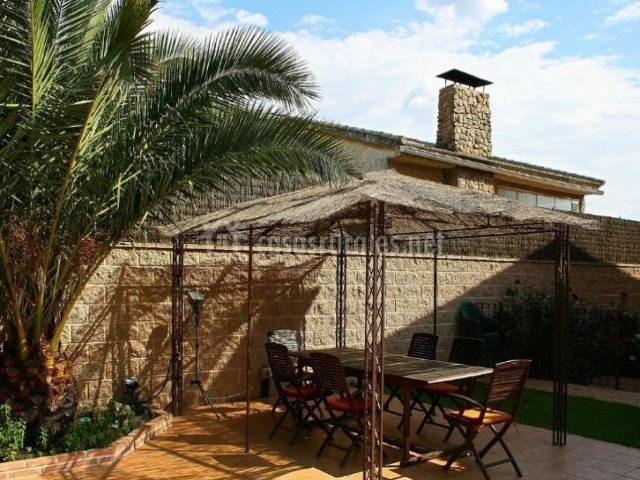 Vistas del porche con mesa y sillas junto a las palmeras