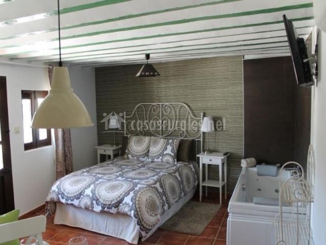 Dormitorio con sala de estar integrada