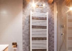 Baño con ducha y columna de radiador