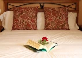 Cama de matrimonio con cojines y un libro abierto