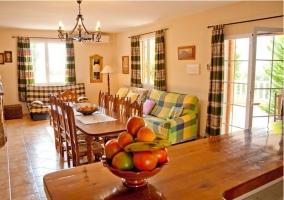 Salón comedor con chimenea y ventanas
