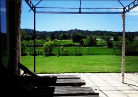 Jardín con hamacas y sol