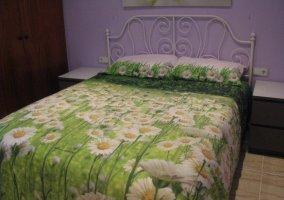 Habitación cama verde